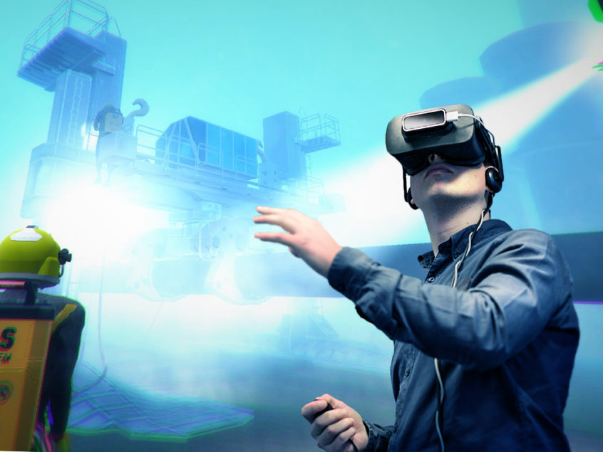 Man using VR and VR Diver is on the background