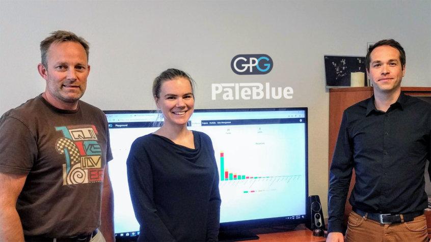 Flemming Kjeilen-Eilertsen, CEO at GeoPlayground, Alisa Smerdova, CTO/Development Manager at GeoPlayground, and Felix Gorbatsevich, Managing Director at PaleBlue